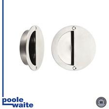 Satin stainless half moon flush pull for use on sliding & folding doors