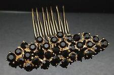 Dark Black Crystal Gold Formal Wedding Formal Hair Large Comb Clip Pin 7.6cm