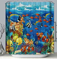 "Underwater Clown Fish Sealife Fabric Shower Curtain 70"" Colorful Nautical Ocean"