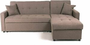 Hinton | Luxurious Mocha Corner Sofa Bed with Reversible Chaise & Hidden Storage