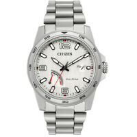 Citizen Eco-Drive Men's PRT Silver-Tone Bracelet 42mm Watch AW7031-54A