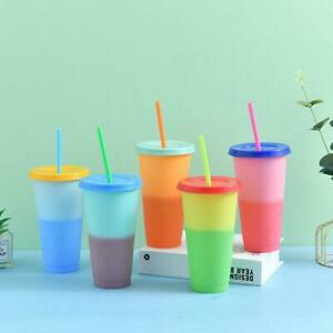 1-5x Color Changing Cold Cups Plastic Tumbler +Lid Plastic Summer Gift