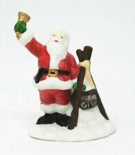 """Heritage Village """"Please Give"""" Dept 56 Porcelain Santa Ringing Donation Bell/Pot"""
