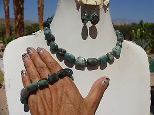 Raw tumbled emerald necklace bracelet earring set Stauer adjustable NEW