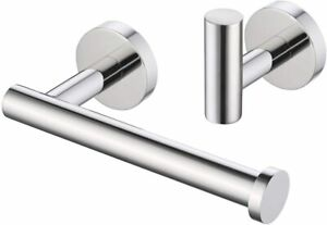 Silver Toilet Roll Holder,Hook,Circular, Bathroom 2 Piece,Self Adhesive-3M