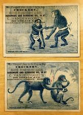 2 Victorian Trade Cards MONKEYS w/ MASONIC APRON c1880's Vandervoort's, Brooklyn