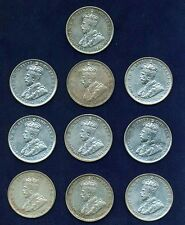 AUSTRALIA GEORGE V 1936 1 SHILLING SILVER COINS, LOT OF (10), GRADES: VF to XF