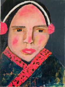 Original Winter Portrait Painting Pink Earmuffs Katie Jeanne Wood