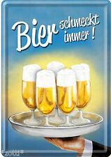 Bier schmeckt immer Tablett Blechpostkarte