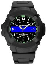 Aquaforce Thin Blue Line US Flag Support The Police Black Tactical Field Watch
