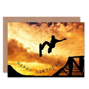 Happy Birthday Skateboard Ramp Sunset Photo Blank Greeting Card With Envelope