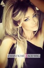 Long Straight Synthetic Hair Lace Front Wigs Ombre Blonde Wig Dark Roots Heat Ok