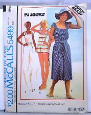 McCall's Sewing Pattern # 5499 MISSES JUMPSUIT & HAT Size SMALL UNCUT c.1977