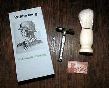 WEHRMACHT SAFETY RAZOR & SHAVING BRUSH - WW2 repro (2)
