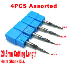 4PCS/lot Assorted R0.25&0.5&0.75&1.0mm Tapered Ball Nose end mills HRC55 Carbide