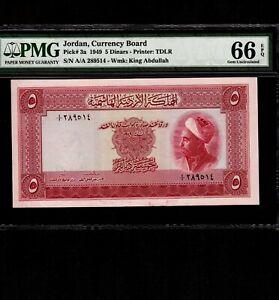 Jordan 5 Dinars 1949 P-3a * PMG Gem Unc 66 EPQ * King Abdullah *