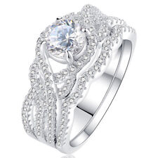 Round Cz 925 Sterling Silver Size 10 Engagement Wedding Ring Set For Women 1.4ct