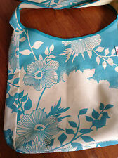 H&M Glamour Designer Floral Tote Bag Turquoise Print on Ecru Canvas Summer Beach