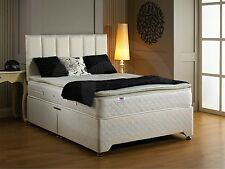 Luxury best sleep pillow top 28cm deep mattress and quilted divan bed DOUBLE