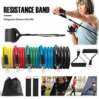 11 Pcs Resistance Tubes Bands Door Ankle Straps Trainers Set At Home Workout Gym