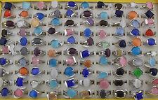 Job lots 50pcs Nature cat eye stone Sliver P women's Multicolor Fashion ring