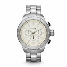 NEW Fossil BQ1048 Men's Logan Watch Chronograph White Dial Stainless Steel Case
