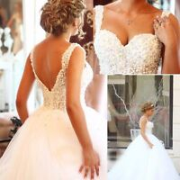 Luxury Pearls Sexy White/Ivory Puffy Wedding Dress Spaghetti Straps Bridal Gown