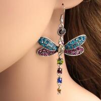Wunderschöne Libelle Kristall Strass versilbert Haken Ohrringe Geschenk Boh J0G2
