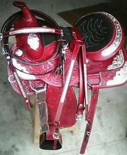 """new 16"""" silver fitting western tack trail pleasure show leather horse saddle"""