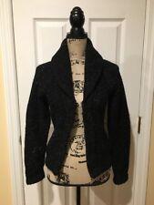 J Crew Hand-Knit Chunky Cardigan Sweater Hook Closure Black Silver Small EUC