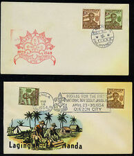 PHILIPPINES 1948 2 COVERS SCOUTS FDC & 1954 IMPERFS