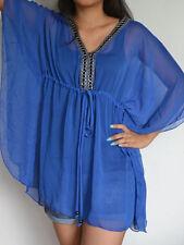 3001 Boho Chiffon Caftan Kaftan Blue Casual Tunic Batwing Kimono Top S M L XL