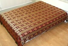 Silk Vintage Double Bed Queen Size BED COVER BEDSPREAD Elephants Maroon Burgundy