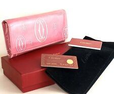 Auth CARTIER Happy Birthday Pink Patent Leather Long Bi fold Wallet Purse W/ Box