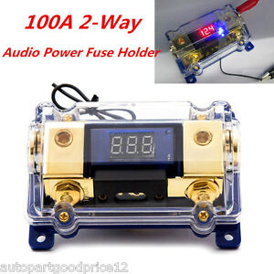 100A 2-Way Car Audio Power Fuse Holder Stereo Grounding Cable Distribution Block