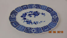Vintage Blue Imari Japanese Blue and White Oval Serving Dish Fluted Sides 12""