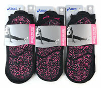 Asics Womens Studio No-Slip Single Tab Sock Black Large Size 10-12 Pack of 3