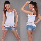 New Sexy Ladies Singlet Tank Top Size S/M Size 6 8 10 - White