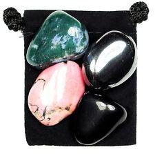 SELF IMPROVEMENT Tumbled Crystal Healing Set = 4 Stones + Pouch + Description