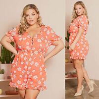 Womens Plus Size Jumpsuit Short Sleeve Rompers Playsuit Flower Casual Dresses