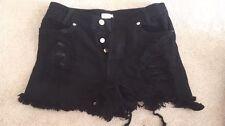 Women's Black Denim Shorts, High-Waist and Ruffled Wash, Silver Buttons Size 0