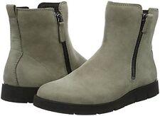 Ecco Womens Bella Zip Boots Warm Grey Nubuck Leather US 6-6.5 NEW IN BOX