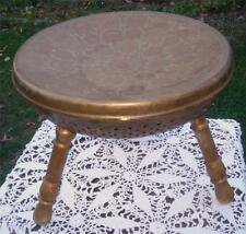 ANTIQUE INDIAN MISSIONARY STOOL SOLID BRASS LATE 1800'S 3 LEGGED
