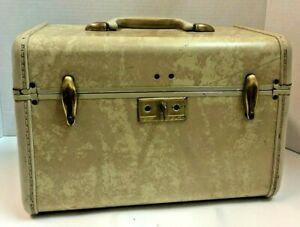 Vintage Samsonite Train Case Make-Up Suitcase Marbled Cream with Key