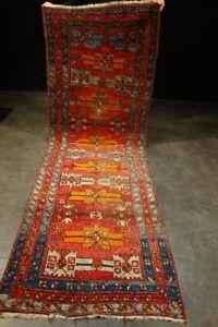 antique tapis persan Persian rug tribal Heriz Karadje Gharadje runner 300x102 cm