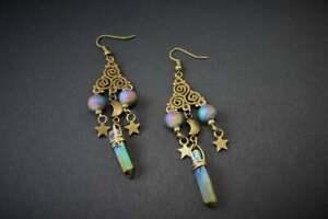 Aura Quartz,Titanium Crystal, Gothic Moon Gift,Drop Earrings,Pagan Gift, Wicca