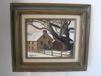 "Oil Painting Original ""Old Stone House"" 1978 by Ann Jacklin Framed 16"" x 14"""