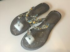 Pulse Ladies Beaded Decorated Jelly Sandals Flip Flops size 7 - New in Box