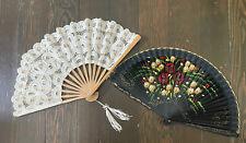 Lot Of Two: Vintage Handmade Lace Italian Fan & Hand Painted Flamenco Spain Fan