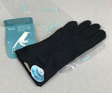 New HANSEN Vintage Black Nylon Gloves 6.5 Washable NOS Soft